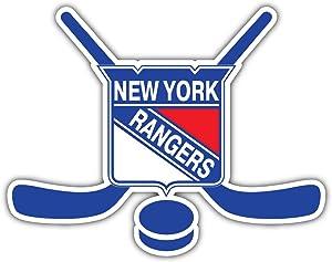 hotprint Rangers Hockey - New York Sticks Sport Car Bumper Sticker Decal 5'' X 4''