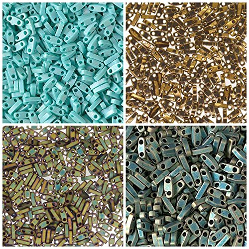 1/4 TILA, 40 Grams, Miyuki Quarter Tila Bead Kit, 4 Colors, 10 Grams Each. Matte Metallic Patina Iris, Matte Metallic Khaki, Bronze Metallic, Opaque Turquoise. Free 1st Class Mail Shipping!