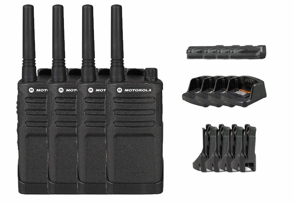 4 Pack of Motorola Professional RMU2040 Business Two-Way Radio with 2 Watts/4 Channels Military Spec 20 Floor Range