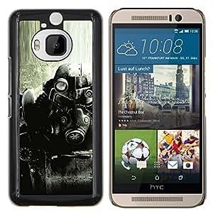 Qstar Arte & diseño plástico duro Fundas Cover Cubre Hard Case Cover para HTC One M9Plus M9+ M9 Plus (B & W Fall0Ut Juego Soldado)