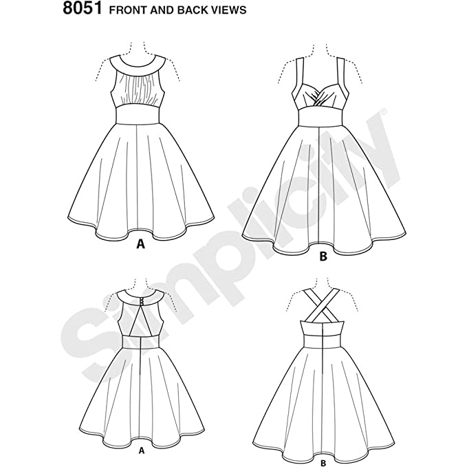 Amazon.com: Simplicity Pattern 8051 BB Misses and Plus Size Dresses by Theresa Laquey, Size 20W-28W: Arts, Crafts & Sewing