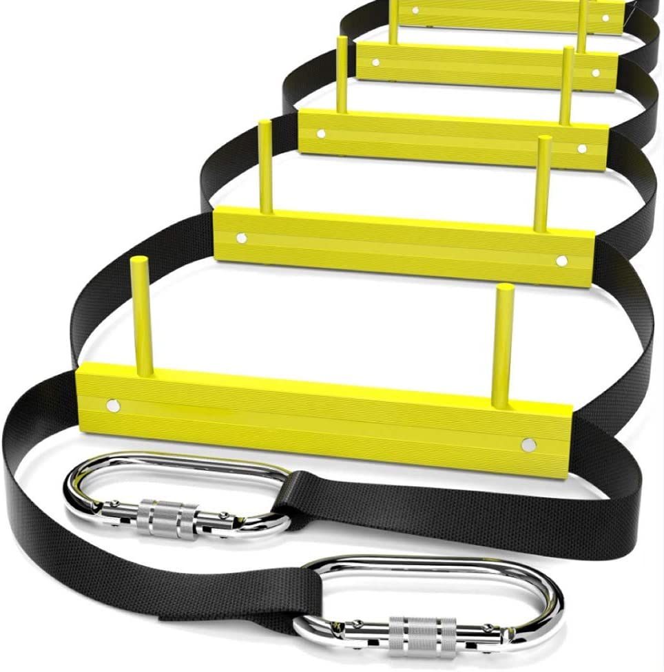 Fire Escape Ladder 3 Story   Rope Ladder Fire Escape for Homes 3rd Floor   Portable, Foldable & Compact   Emergency Ladder Suitable for Balcony & Windows (25ft)