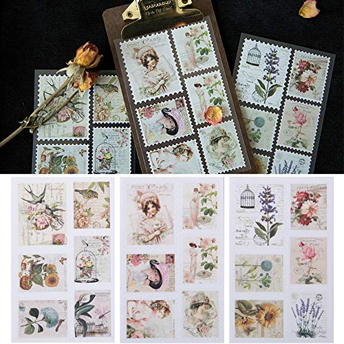 4 Sets/72 Pcs Post Stamp Stickers Vintage Postage Stamps Assortment Adhesive Paper Sticker Decor Envelope/Bag Seal by EORTA for Diary Album Scrapbook DIY Craft Gift, Kids, Students, Retro Lady Theme