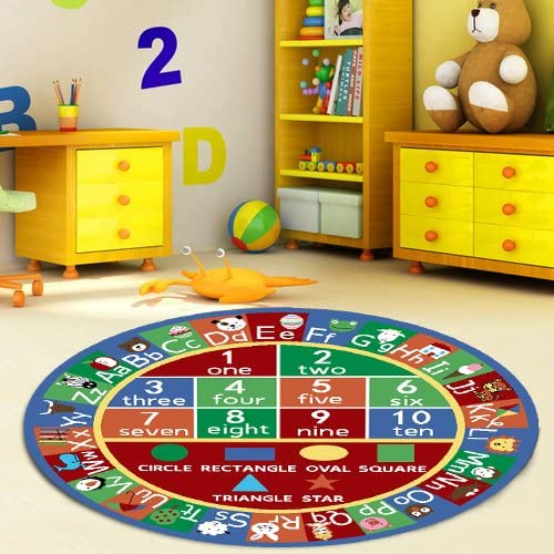 Multicolor Anti-Skid Resistant Rubber Backing Alphabet Numbers /& Educational Shapes Furnish My Place 755 ABC With Shape 33x5 Oval ABC Area Rug for Kids