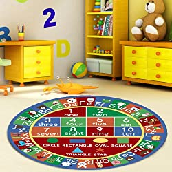 Furnish my Place 755 Shape 3'3 Round Kids ABC Alphabet Numbers Educational Area Rug, Multicolor