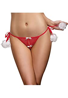 28a9a164550 Dreamgirl Women s Plus-Size Plus Size Marabou Open Crotch Panty with Tie  Side