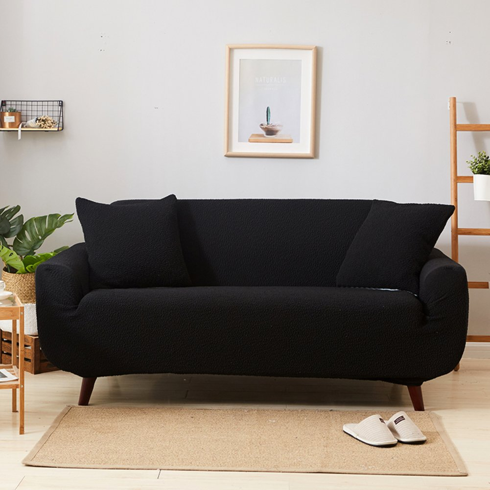 Plush Elastic Sofa slipcover For three cushion sofas,Non-slip Stretch couch covers Thick sofa cover All-inclusive Solid color Sofa cushion towel 1 piece -E sofa