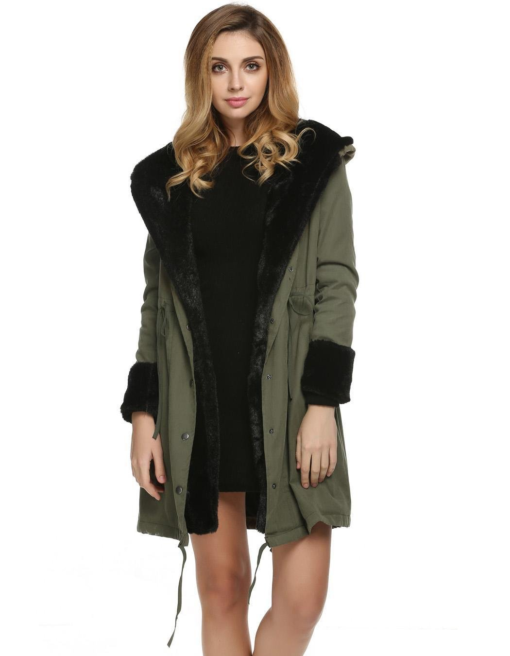 Bifast Girls Fashion Celebrity Street Style Faux Fur Warm Coat Army Green S