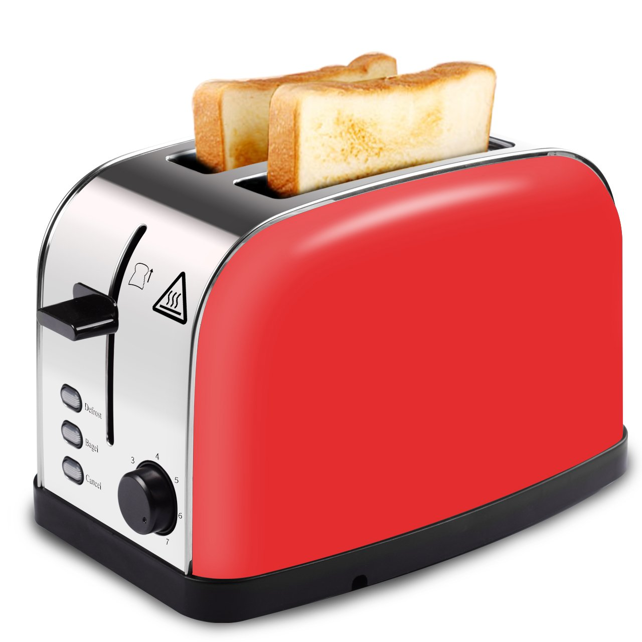 HOPPIC Toaster 2 Slice with Extra Wide Slot, Bagel, Defrost, Cancel Functions, 7-level Shade Control, Removable Crumb Tray, Brushed Stainless Steel Toaster Red