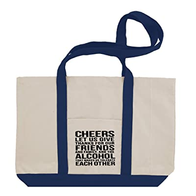b82a788c91 Cheers Let Us Give Thanks For Alcohol Cotton Canvas Boat Tote Bag Tote  50%OFF