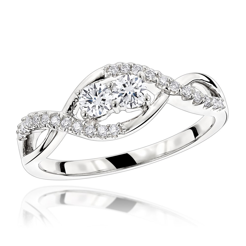 Ladies Unique Band 14K Gold 2 Stone Diamond Infinity Ring 0.4ctw G-H color (White Gold, Size 8)