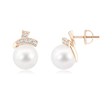 Angara Cherry Style Freshwater Cultured Pearl Stud Earrings 1YS088Ch9