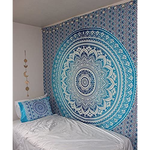New Launched Popular Handicrafts Ombre Tapestry With Hand Work Painting Indian Mandala Wall Art Hippie Hanging Bohemian Bedspread Tapestries 84x54