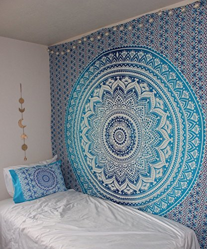 Popular Handicrafts Kp652 Blue Ombre Hippie Mandala Bohemian Psychedelic tapestry wall hangings wall art Ethnic Dorm Decor Indian Bedspread Magical Thinking Tapestry 84x90 Inches,(215x230cms)