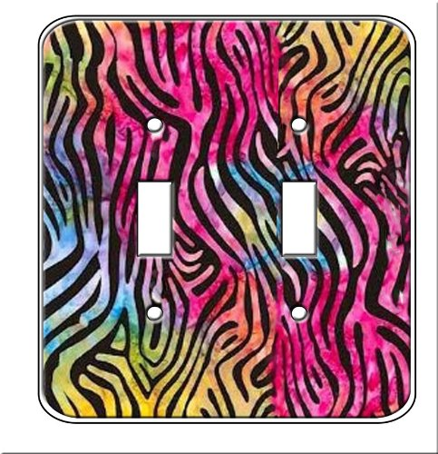 (Rainbow Zebra Room Decor (Double toggle switchplate cover))