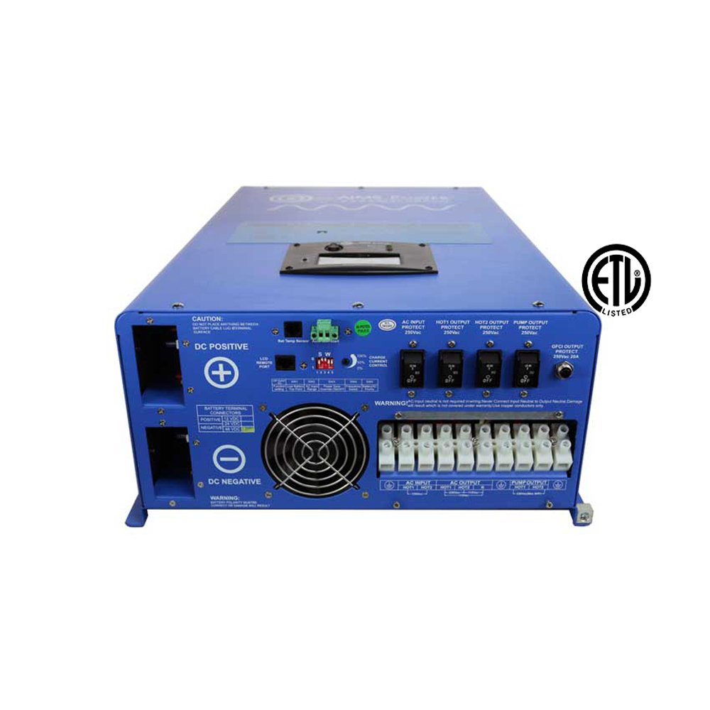 Aims Power 12000 Watt Pure Sine Inverter Charger 48Vdc & 240Vac Input to 120/240Vac Split Phase Output w/ 36KW Surge 50/60Hz ETL Listed 12KW
