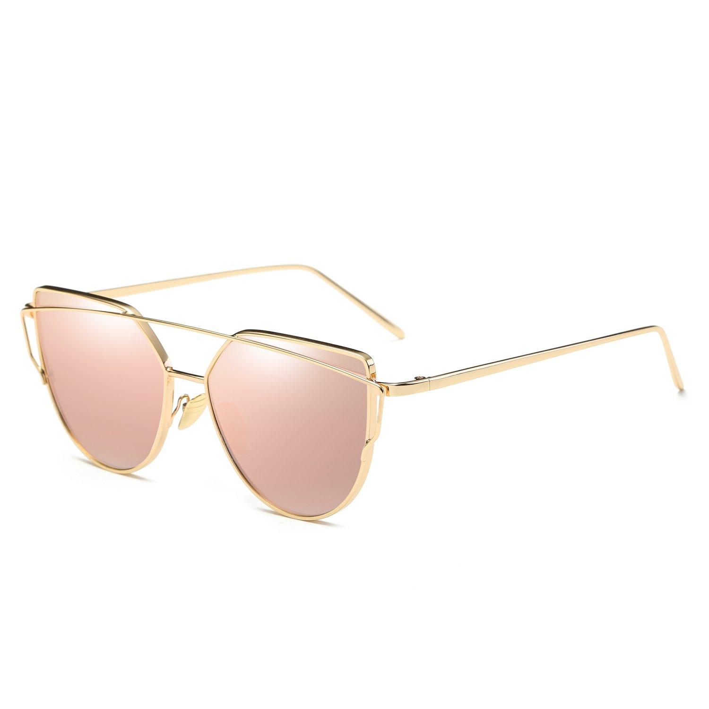 Cat Eye Mirrored Flat Fashion Twin-Beams Classic Metal Frame Women Sunglasses