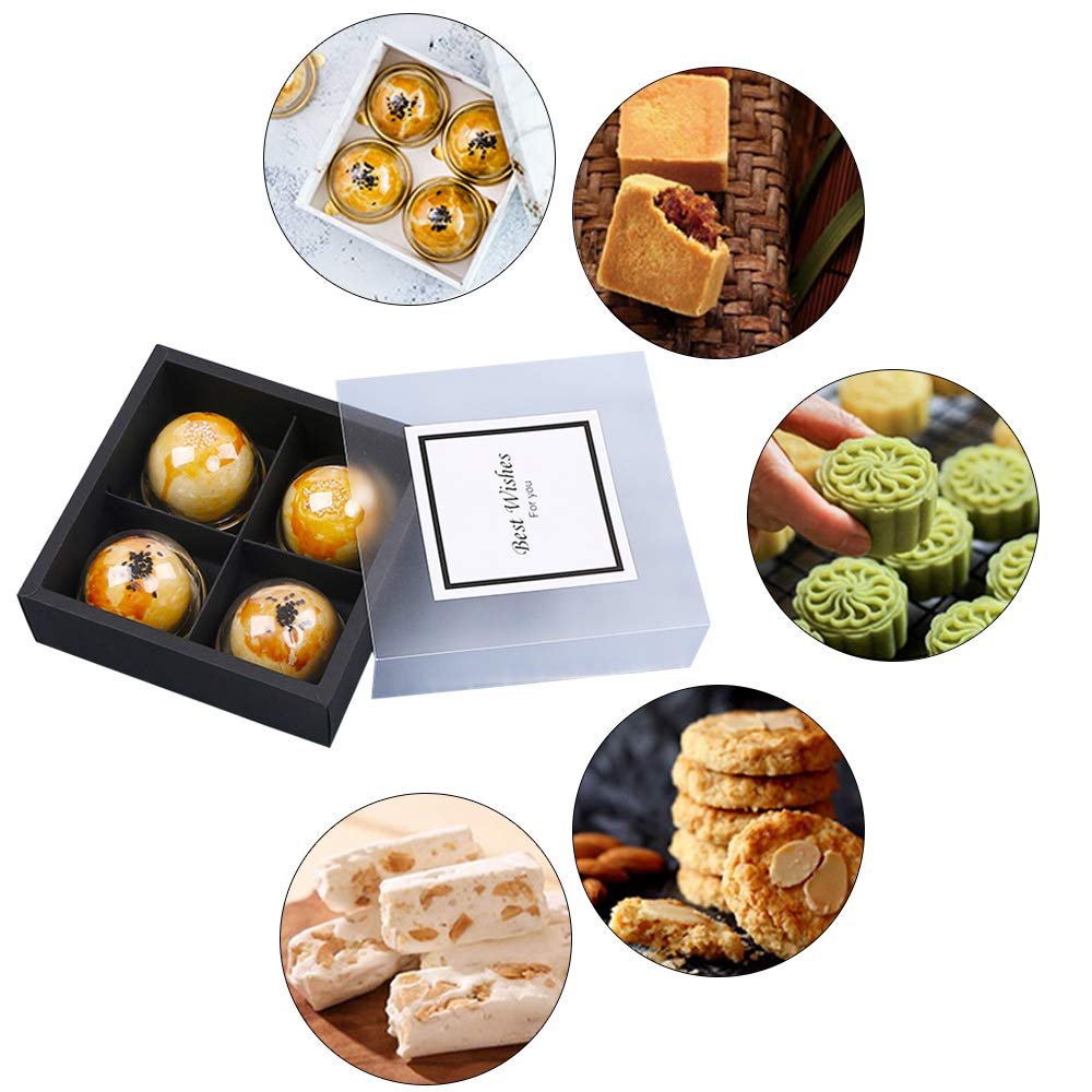 PACKFAN 12 Packs Brown Kraft Paper Cookie Boxes with 4 Lattices, Best for Mother's Day, Christmas, Packing Your Cupcake, Biscuit, Cookies Pastry Goodies Containers with 12 Sticks (Black) by PACKFAN (Image #6)