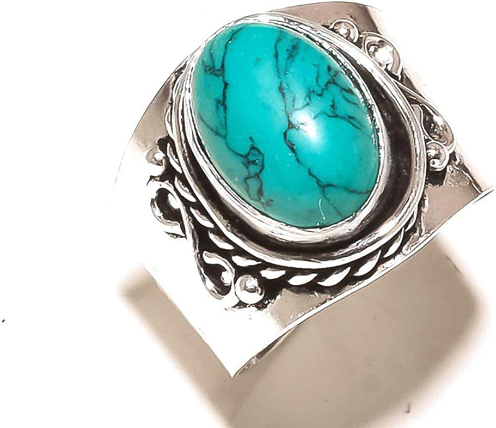 Gorgeous Blue Turquoise Handmade Jewellry 925 Sterling Silver Plated 8 Grams Ring Size 9.5 US Sizable