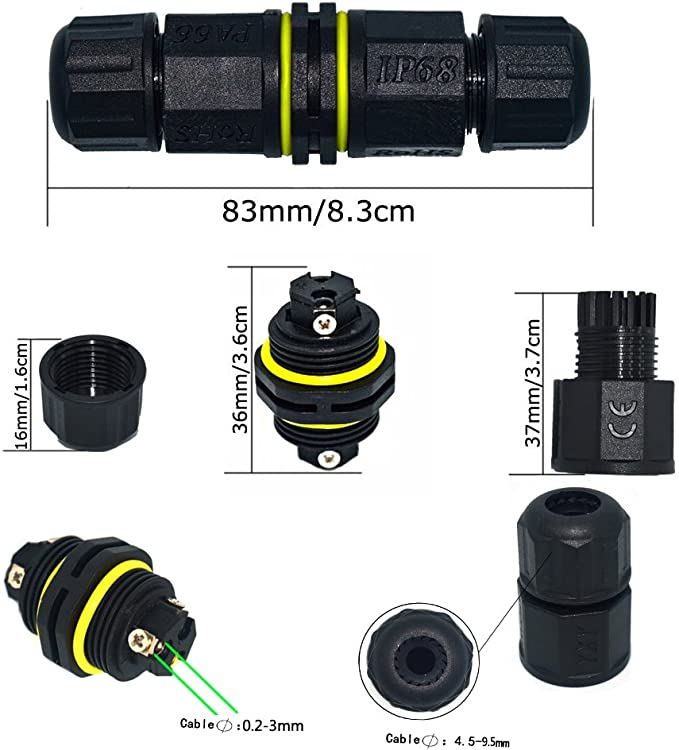 Cable Range 4.5-9.5 mm ELifeApply Wire Connector for Underground Outdoor 2 Pack 2 Way 2 Pin IP68 Waterproof External Electrical Junction Box Field Installable Shielded
