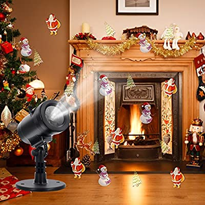 Christmas Light Projector Outdoor LED - Blinbling Christmas Lights Projector Combine with Remote Control and 14 Exclusive Design Slides, for Christmas Halloween Birthday Holiday Landscape Decoration