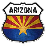 arizona highways restaurants - ARIZONA State Province Flag Novelty Highway Vintage Retro Wall Décor Shield Metal Aluminum Sign
