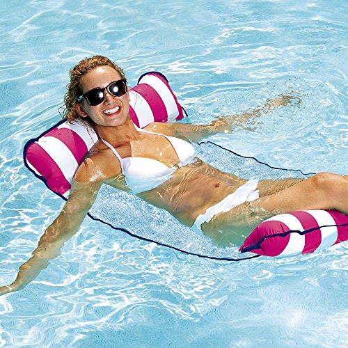 Aqua Monterey 4-in-1 Multi-Purpose Inflatable Hammock (Saddle,Lounge Chair, Hammock, Drifter) Portable Pool Float, Pink/White Stripe
