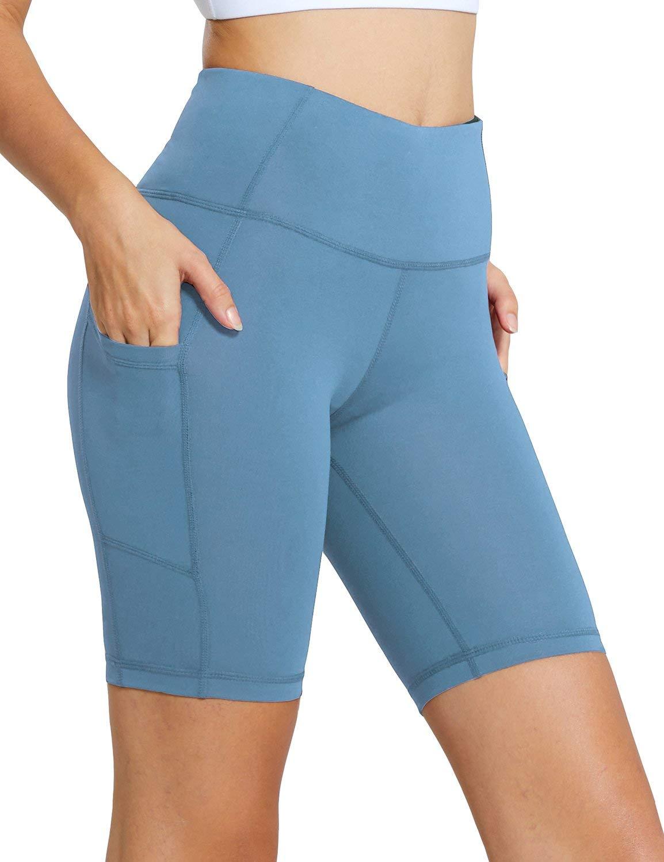 BALEAF Women's 8'' High Waist Workout Yoga Shorts Tummy Control Side Pockets Niagara Size XXL by BALEAF