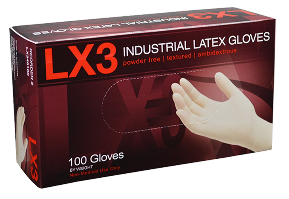 Ammex LX348100 LX3 Powder Free Latex Industrial Gloves, 240mm Length, Beaded Cuff, Extra Large, Pack of 100 (Beige) LX348100-BX