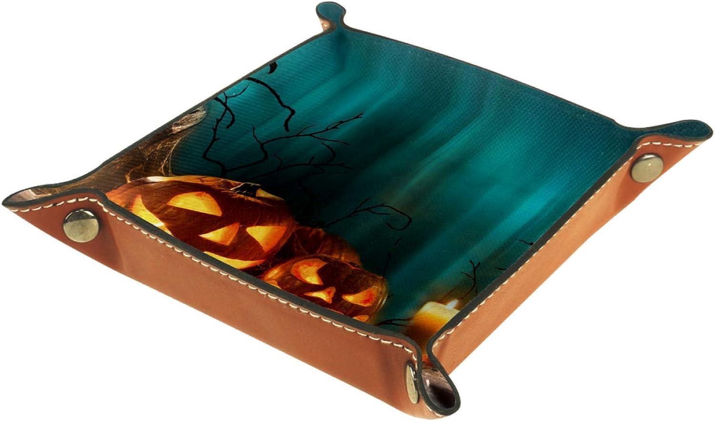 TIZORAX - Velas de calabazas de Halloween en tablones de madera, caja de almacenamiento de cuero, bandeja de valet para joyería