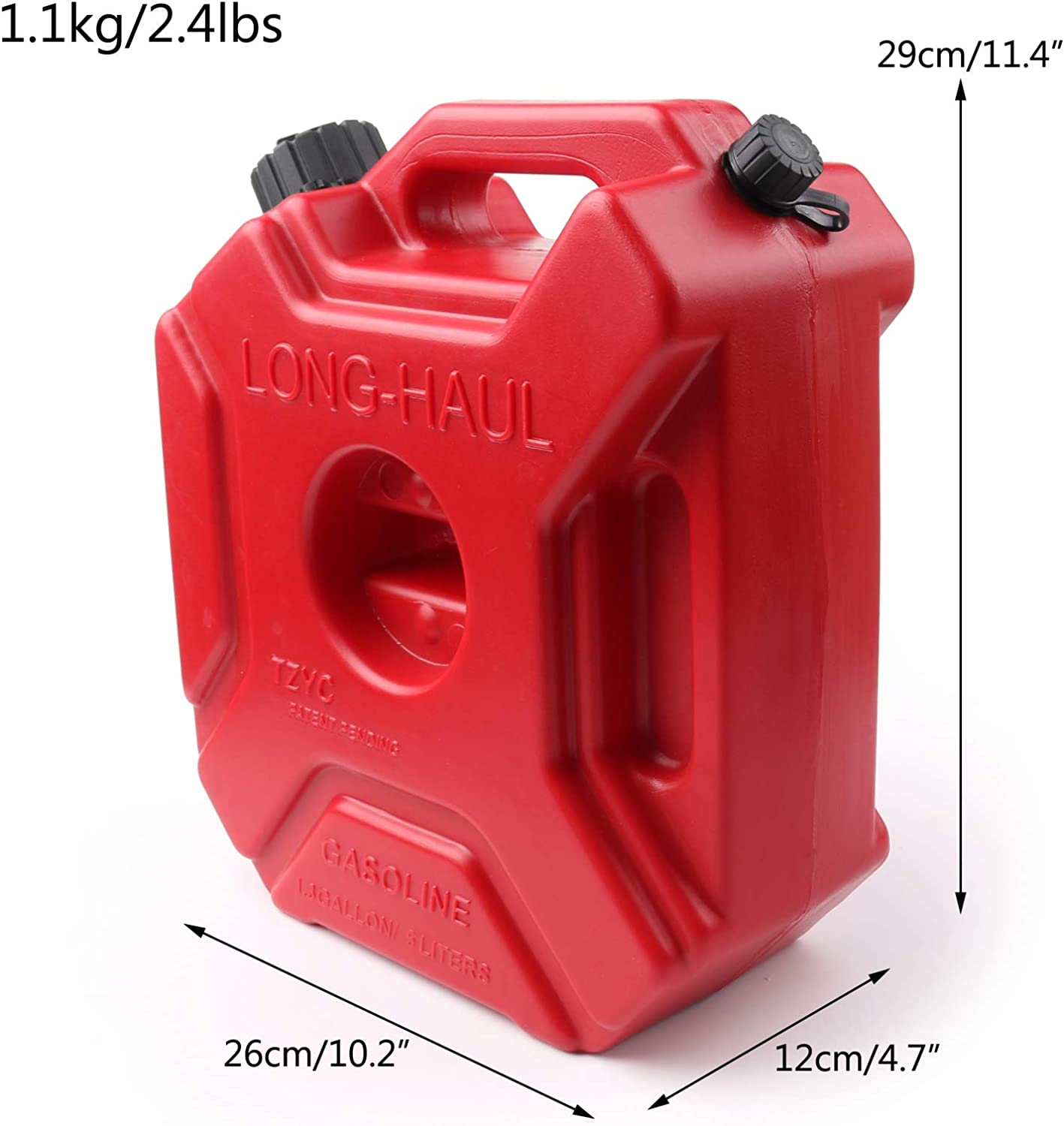 5L Plastic Red Outboard Fuel Tank Portable Motorbike Petrol Can for SUV ATV Motorcycle Scooter Offroad Vehicles Artudatech Jerry Can