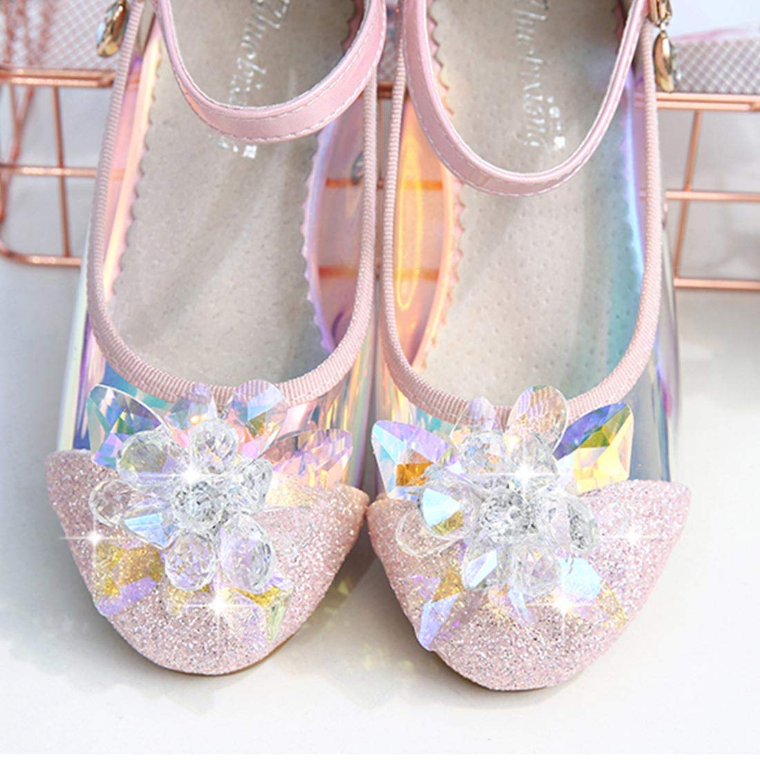 YIBLBOX Toddler Girls Copplay Pirncess Wedding Party Dress Shoes with Crystal Flower Mary Janes Sandals