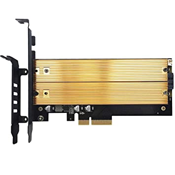 GLOTRENDS 4-Bay M.2 NVME Adapter Up to PCIE 3.0 X8 Bandwidth Soft RAID Support Palace Aluminum Cover with Built-in Fan