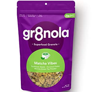 gr8nola MATCHA VIBES - Healthy, Low Sugar, Vegan Granola Cereal - Made with Superfoods Japanese Matcha Powder, Sunflower Seeds and Coconut Flakes