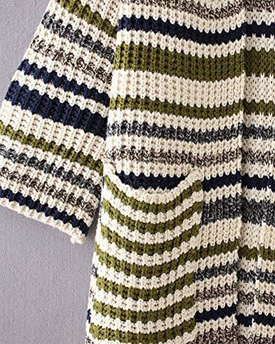 Anteriori Maglia Manica Moda Libero Di Lunga Grün In Marca Mode Donna Tasche Vita Giacca A Autunno Maglieria Tempo Alta Top Stripe Cappotto Pullover 685fqwZH