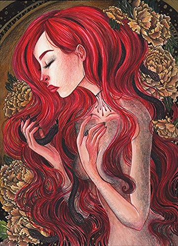 Medusa by Vic Hollins Red Head Woman Portrait Snake Hair Tattoo Canvas Art Print