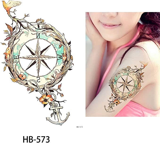 Tattoo ancla Brújula Multicolor/Colores falso tatuaje Tattoo ...