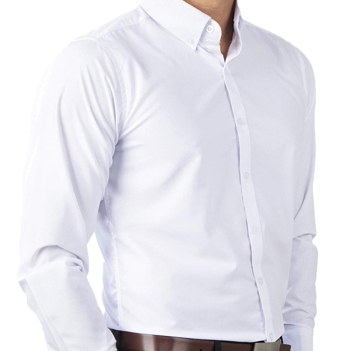 1b7867f6243 IDENTITY Mens Plain White Button Down Woven Smart Casual Formal Corporate  Wear Long Sleeve Shirt at Amazon Men s Clothing store