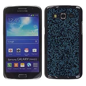 Be Good Phone Accessory // Dura Cáscara cubierta Protectora Caso Carcasa Funda de Protección para Samsung Galaxy Grand 2 SM-G7102 SM-G7105 // Blue & Black Mosaic Pattern