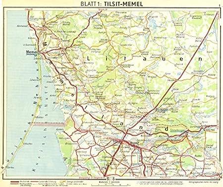 LITHUANIA. Tilsit-Klaipeda - 1936 - old antique vintage map ...