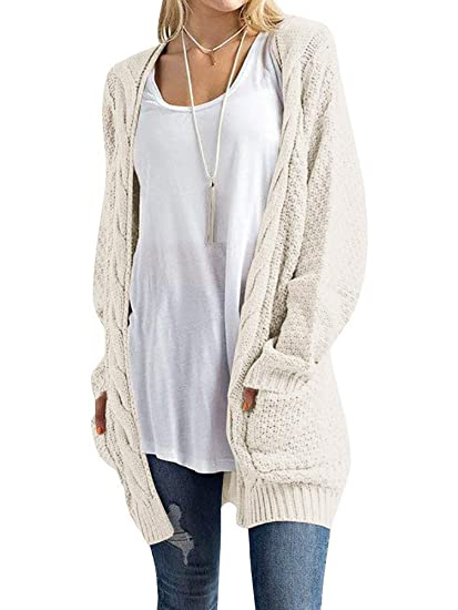 Inorin Womens Open Front Cardigan Pockets Cable Knit Long Sleeve