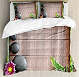 Meditation Duvet Cover Set King Size by Ambesonne, Spa Frame with Spiritual Stones Bamboo Stems Orchid Petals Yoga Zen Philosophy, Decorative 3 Piece Bedding Set with 2 Pillow Shams, Multicolor