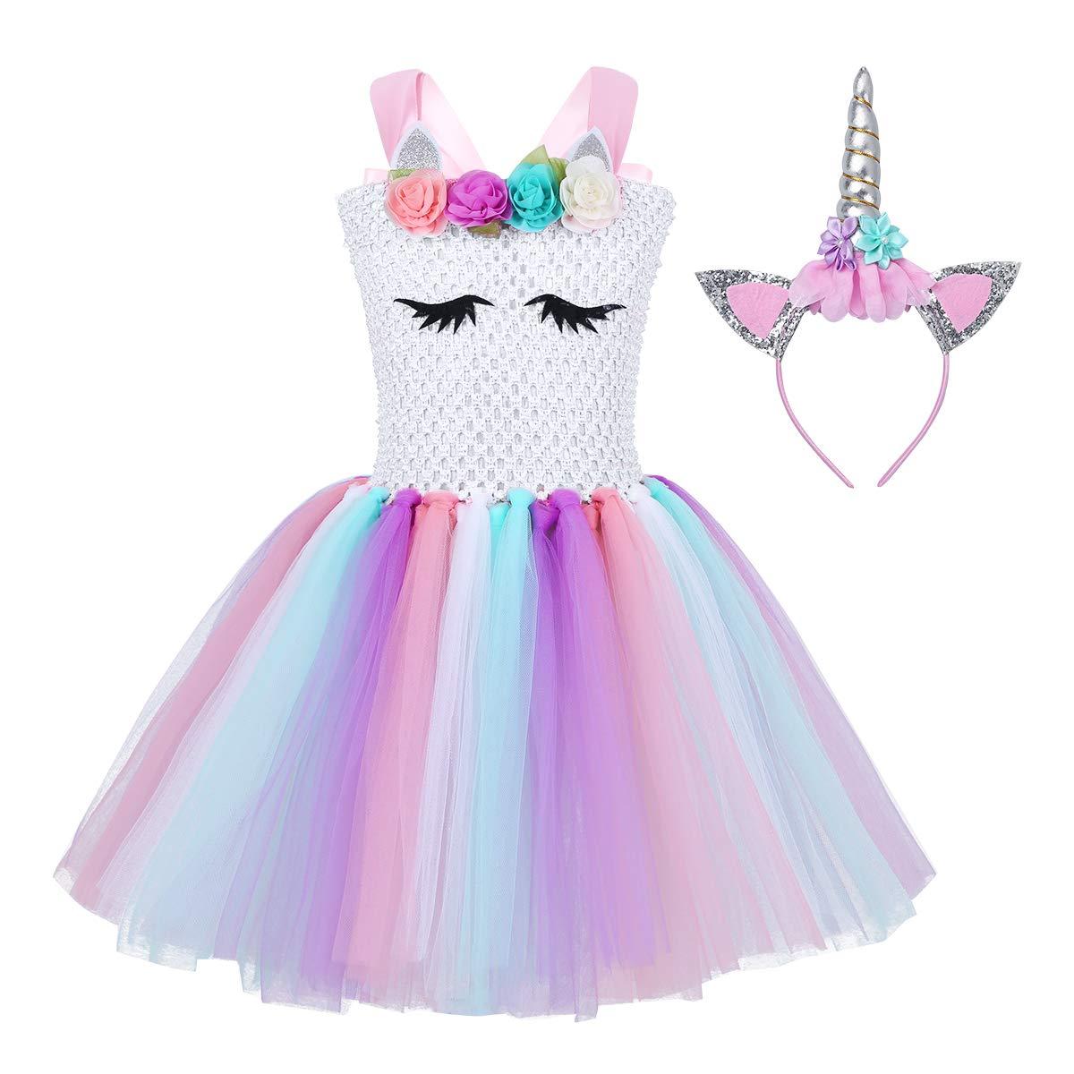 YiZYiF Girls' Pastel Flowers Uni-Corn Tutu Dress with Headband Princess Birthday Outfits Halloween Dress up White01 6-7