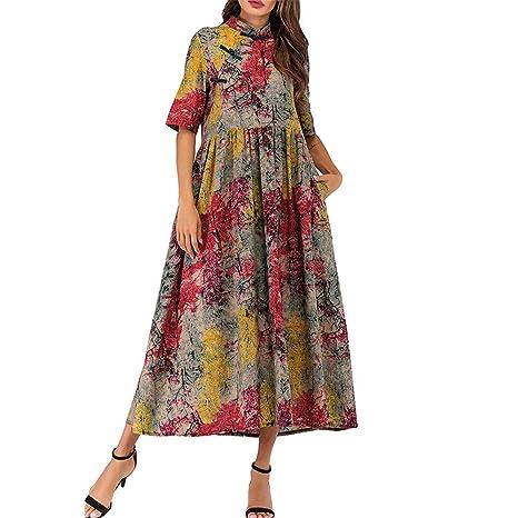 Vestido Estampado Suelto de algodón Floral Acanalado de ...