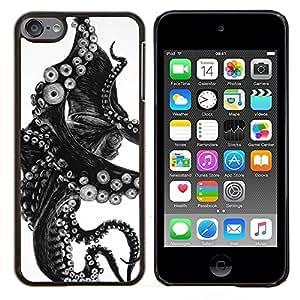TECHCASE---Cubierta de la caja de protección para la piel dura ** Apple iPod Touch 6 6th Touch6 ** --Negro Blanco Foto Tentacle Monster