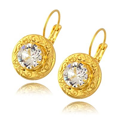 57360fc49d7dd Amazon.com: Nara Engraved Crystal Flower Earrings, Gold Plated ...