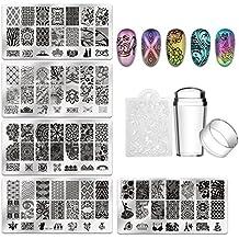 Biutee 5pcs Nail Stamping Plates + 1 Stamper + 1 Scraper Lace Flower Animal Pattern Nail Art Stamp Stamping Template Image Plate Nail Art Stamper Scraper Nails Tool