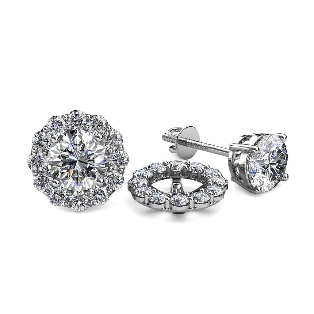 TriJewels Diamond 0.72 Carat tw Women Halo Jackets for Stud Earrings in 14K White Gold