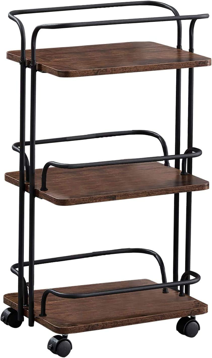 VECELO 3-Tier Rolling Utility Cart with Handle and Wheels Roller Makeup Organizer Storage for Kitchen, Office, Bedroom, Brown