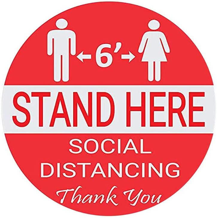 Keep 6ft in Between Distance Sanmubo Trade 10pcs Safety Signs Interior Floor Adhesive Figure Floor Sticker Floor Decals for Outside Social Distance While in Line